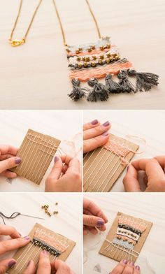 Learn How to Make a Woven Necklace Using a DIY Loom Weaving Projects, Weaving Art, Loom Weaving, Tapestry Weaving, Diy Projects, Tapetes Diy, Diy And Crafts, Crafts For Kids, Kids Diy