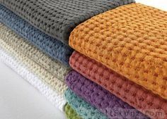"NEW! ""Pousada"" waffle weave towels from Abyss Habidecor. Perfect for the pool or beach. Lightweight, super absorbent and fun fashion forward colors! Robes available to match!"