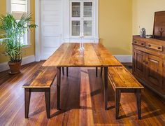 Peter used our Hepplewhite Table Base Kit  and our Durham legs for his benches. Check out our selection of tapered legs here: http://www.tablelegs.com/ProductSearch.aspx?Term=Hepplewhite Peter used a reclaimed pine/hemlock for his table & bench tops.