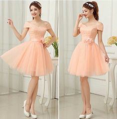 Pink Cute Cap Sleeves Short Party Dress With Belt, Lovely Teen Tulle Formal Dress, Handmade Formal Dress 2018 Dama Dresses, Cute Dresses, Short Dresses, Formal Dresses, Dresses For Teens, Girls Dresses, Homecoming Dresses, Bridesmaid Dresses, Pageant Dresses