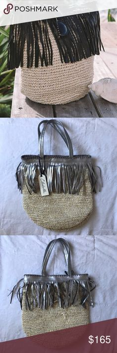 [•JUSTADDED•] Cleobella Palms Tote NWT CLEOBELLA Palms Tote in silver fringe! For beach days, sunday farmer's markets, or all the days in between, this leather and straw tote keeps us in a sunny state of mind. Featuring snap closure, interior zip pocket and cotton canvas lining for added security.  Leather fringed accents Strap Drop 10in Measurements: 16in width, 19in height  NOTE: leather fringe and straps are SILVER (not black like stock picture). Offers accepted! Cleobella Bags