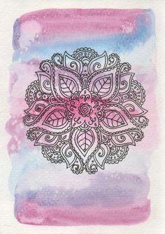 Pink and Blue Mandala - Watercolor Mandala Print - Floral Mandala Art - Yoga Wall Art - Yoga Studio Mandala Doodle, Mandala Art, Watercolor Mandala, Mandala Design, Mandala Drawing, Doodle Art, Yoga Kunst, Yoga Art, Motif Floral