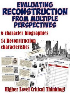 Interactive student project to evaluate the Reconstruction Era from different perspectives