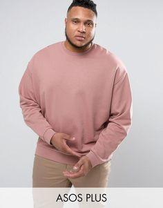 ASOS PLUS Oversized Sweatshirt In Pink - Pink