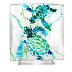 Sea Turtle Shower Curtain featuring the painting Turquoise Indigo Sea Turtles by Suren Nersisyan