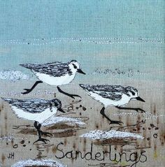 Jo Hill creates luxury interior textiles and gifts including lampshades, wall art and homewares, all inspired by British wildlife Free Motion Embroidery, Bird Embroidery, Machine Embroidery, Thread Art, Thread Painting, Bird Applique, Applique Quilts, Art Textile, Textile Artists