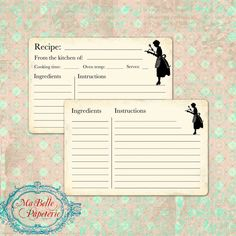 Recipe Cards Retro Style Double Sided Recipe by MaBellePapeterie
