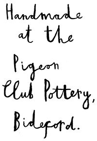 Vicky Lindo | Ceramics at The Pigeon Club Pottery in Bideford, North Devon. lettering, type, design, hand lettering, ink, simple, typography