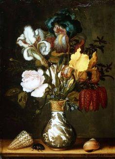 Balthasar van der Ast (Dutch, c.1593-1657) - Irises, Roses and other Flowers in a Porcelain Vase