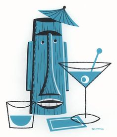 Tiki Still Life With Blue Cocktail Napkin and Martini