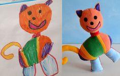 Brinquedos feitos a partir de desenhos de criança