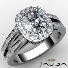 Cushion Diamond Engagement Ring Certified by GIA, F Color & VS1 clarity, 14k White Gold (1.36 ct. Total weight.)