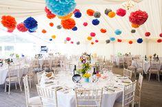 Colourful Fun Candy Wedding Marquee Pom Poms http://www.julietteharrison.co.uk/