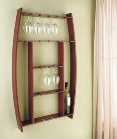 Wine barrel glass rack