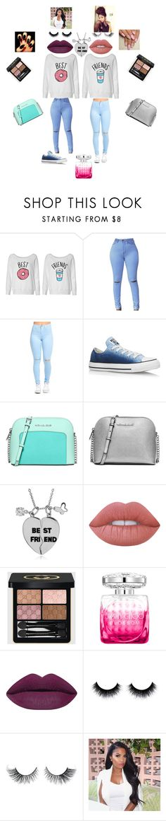 """out with bestie"" by oliviaonfleek on Polyvore featuring Converse, Michael Kors, MICHAEL Michael Kors, Tressa, Lime Crime, Gucci and Jimmy Choo"
