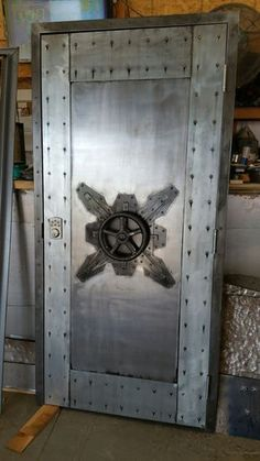 #027F - Custom Vintage Industrial Faux Vault Door • Industrial Style Décor by Industrial Evolution Furniture Co.