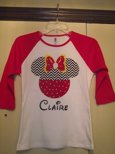 Chevron Minnie Mickey Mouse  T-Shirt Disney Birthday by creationsbyJeanne, $19.00