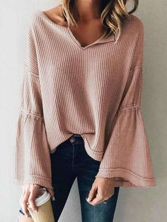 Flared Sleeve V-Neck Knit Top Blouse For Women Blouse For Women Casual Blouse For Women Work Mode Outfits, Casual Outfits, Fashion Outfits, Womens Fashion, Fashion Trends, Fashion 2017, Fashion Blouses, Short Outfits, Ladies Fashion