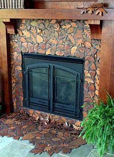 Falling Leaves Mosaic Fireplace for outdoors. Where do you get leaves tiles? Craftsman Fireplace, Custom Fireplace, Fireplace Design, Mosaic Fireplace, Fall Fireplace, Fireplace Remodel, Tile Art, Mosaic Art, Mosaic Tiles
