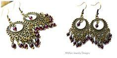 Bronze chandeliers, garnet stones, boho jewelry, bohemian earrings, McKee Jewelry Designs