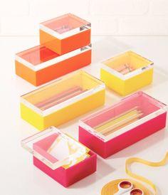 Design Darling home decor & monogrammed gifts — Acrylic Box Set (Fuchsia, Orange, or Yellow)