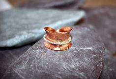Statement Ring Spinner Copper and Sterling Silver by CMFDesignsJewellery on Etsy