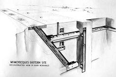 En 1943 comenzó la construcción de una impresionante fortaleza destinada a alojar los cañones que debían reducir Londres a escombros.  Hitler aprobó en agosto de 1943 el inicio de los trabajos de un impresionante silo de baterías excavado en la roca caliza de una colina cercana a la aldea de Mimoy