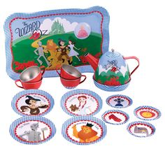 CHILDS TIN TEA SET FOR 4 Musical The Wizard Of Oz  GIFT BOXED