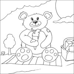 teddy bear colouring page bear picnic color page