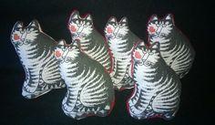 Kliban Cat Fabric 6 Organic Catnip Pillow Toys by sockmonkeyangel