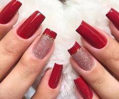 Great Nails, Perfect Nails, Stylish Nails, Trendy Nails, Red Sparkle Nails, Red Acrylic Nails, Nail Designer, Bride Nails, Manicure And Pedicure
