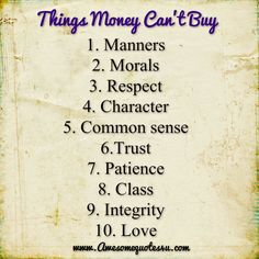 Awesome Quotes: Things money can't buy