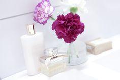 Flowers carnations pink white perfumes bathroom chloé