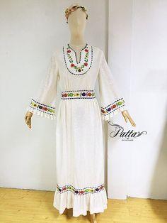 década de 1970 vintage mexicano bordado vestido verano, boda boho behemian…