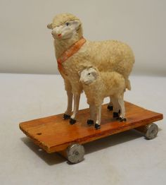 1890's Antique Paper Mache Woolly Sheep Ewe + Lamb Pull Toy All Original German | eBay