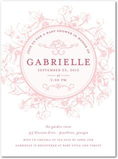 anna babi, shower invitations, invit floral, roses, garden invit, floral ring, shower idea, babi shower, baby showers