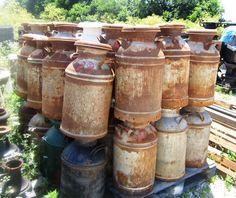 Milk Cans Decorations | Old Vintage Rusty Milk Can Garden Decor Yard Art