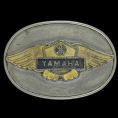 Yamaha Logo Dirtbike Motocross Enduro Brass Motorcycle Biker 1970s Vintage Belt Buckle