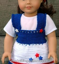 ABC Knitting Patterns - American Girl Doll 4th of July Jumper.