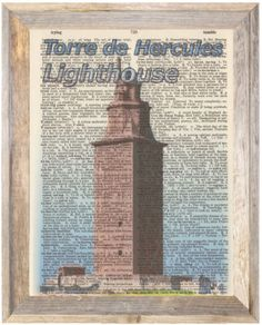 Torre-de-Hercules-Spain-Altered-Art-Print-Upcycled-Vintage-Dictionary-Page