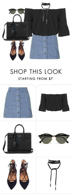 """Untitled#4427"" by fashionnfacts ❤ liked on Polyvore featuring Topshop, Miss Selfridge, Yves Saint Laurent, Ray-Ban and Aquazzura"