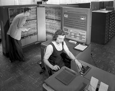 Working with an IBM type 704 at NASA, 1957 From the Women Using Scientific Instruments Pinterest board- check it out!