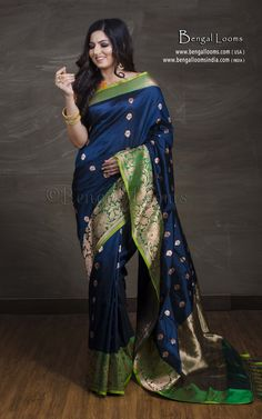 a58a65fd757a4 Pure Katan Silk Banarasi Saree in Dark Blue and Green