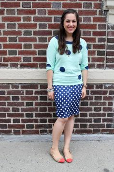 Print Mixing With Polka Dots @J.Crew sweater