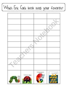 Which Eric Carle Book Was Your Favorite? Survey for Week 1 from Teaching Resources by Katie Norris on TeachersNotebook.com (2 pages)  - Every great author study ends with a survey to find out which book was most liked by the students. Not only is this a great way for students to practice graphing but great for the teacher to plan for the future! I hope this helps in the conclusion of your