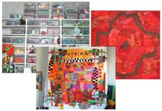 love my quilting room with colors galore, and my design board is a Murphy bed for when we have visitors