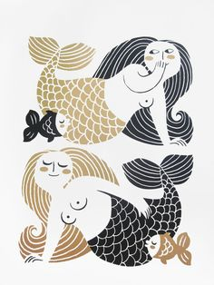 mermaid print - Google Search