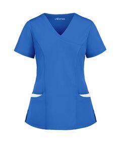 Medico-1013-Azul-Blanca Cute Nursing Scrubs, Cute Scrubs, Nursing Clothes, Scrubs Outfit, Scrubs Uniform, Medical Uniforms, Work Uniforms, Stylish Scrubs, Medical Scrubs