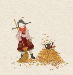 마당에 수북히 떨어진 낙엽을 쓸어  한데 모으는 것은 내 일이었습니다. 낙엽을 쓸다가...바스락바스락 밟아보기도 하고 머리 위로 힘껏 뿌려 낙엽 눈을 맞기도 하고... 내가 해야 할 일이었지만,  참 좋아하는 놀이이기도 했습니다.
