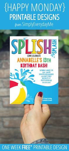 {HAPPY MONDAY}... Today's free* printable {HAPPY MONDAY} design is a POOL INVITATION... The text is editable, so you can personalize it for...